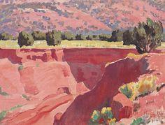 paintingbox:Maynard Dixon Gorge at Short Creek, Oil on canvas on board. 12 x 16 in. Landscape Concept, Landscape Art, Landscape Paintings, Oil Paintings, Maynard Dixon, Southwestern Art, Desert Art, Virtual Art, Landscape Illustration