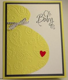 Baby Shower Card: Stampin Up Handmade Card, Pregnancy, Baby We've Grown, Paisley Embossing Folder by StampinINK