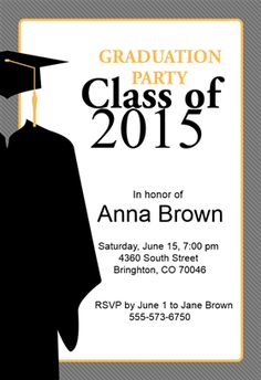 """Class Of""  printable invitation template. Customize, add text and photos. Print or download for free!"