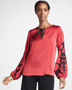 Go Silk Embroidered Silk Blouse, Petite Embroidered Clothes, Embroidered Tunic, Real Style, My Style, Blouses For Women, Plus Size Fashion, Most Beautiful, Top Designers, Fashion Trends