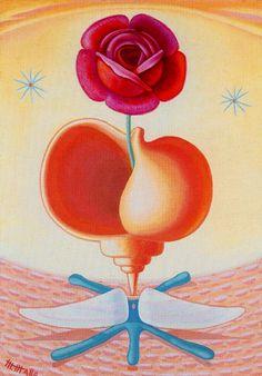 Naturaleza viva [Naturaleza viva con rosa] 1942. Óleo sobre tablero de artista. 42 x 29,5 cm. Obra de Maruja Mallo