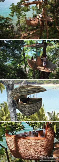 If picnicking under a tree seems a little been there, done that to you, why not give picnicking atop a tree a try? At the Soneva Kiri Eco Resort in Thailand, guests have the option to dine in a lofty woven Tree Pod perched 16 feet off the ground. And as if that wasn't already cool enough, all of the food and beverages arrive courtesy of a flying waiter via a zip line! http://inhabitat.com/lofty-tree-pod-dining-at-the-soneva-kiri-resort-thailand/