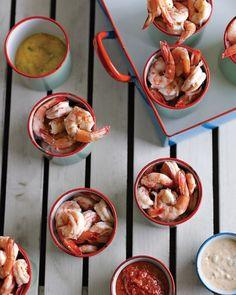 Shrimp Cocktail with Three Sauces.Shrimp cocktail with not one but three dipping sauces. Shellfish Recipes, Shrimp Recipes, Sauce Recipes, Seafood Appetizers, Seafood Dishes, Appetizer Recipes, Seafood Party, Party Appetizers, Tapas