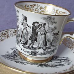 vintage English tea cup and saucer set, Colclough bone china tea cup, gold tea set, southern belle victorian woman, garden.