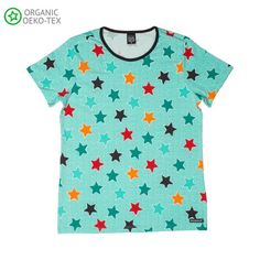 Villervalla Turquoise Blue Multi Stars Short Sleeved T-shirt