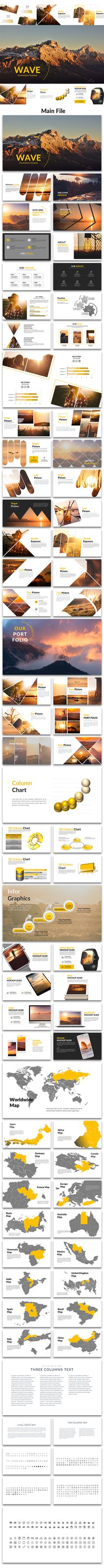Wave - Creative PowerPoint Template - Creative #PowerPoint #Templates Download here: https://graphicriver.net/item/wave-creative-powerpoint-template/19501523?ref=alena994