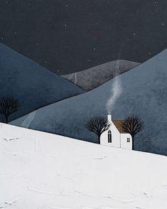 NOUVEAU - le calme de la nuit 14 - Archives Art 8 x 10 imprimer - peinture contemporaine paysage d