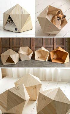 Natural Slow crea estos diseños geométricos para las casas de  nuestras mascotas #pet house #wood #cat #dog