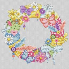 a fabric wreath cross stitch Menhdi Design, Butterfly Cross Stitch, Fabric Wreath, Cross Stitch Cards, Hobbies And Crafts, Hand Embroidery, Cross Stitch Patterns, Diy Crafts, Wreaths
