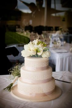 Ivory Wedding Cake - three tier with roses I like this except I would have pansy on top.