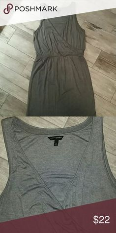 Casual grey Banana Republic dress Casual grey dress from Banana Republic. Crossover/v neck with a layer underneath. Viscose/spandex, very comfortable material. Size XL. Banana Republic Dresses Midi