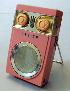 "Vintage Zenith Royal 500 Transistor Radio, 7 Transistors, Pink ""Unbreakable"" Nylon Case, Circa 1957."