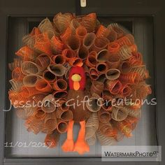 Made to Order Turkey Mesh Wreath/Thanksgiving Wreath/Burlap/Front Door Wreath/Seasonal Wreath/Fall Decor/Autumn Door Hanger/Holiday Wreath - guirlanda - Thanskgiving Fall Mesh Wreaths, Fall Deco Mesh, Deco Mesh Wreaths, Holiday Wreaths, Wreath Fall, Summer Wreath, Wreath Crafts, Diy Wreath, Burlap Wreath