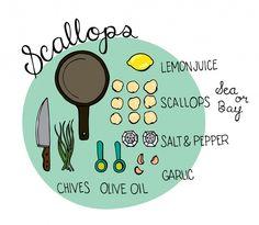 delicious scallop recipes and I love the illustrations!