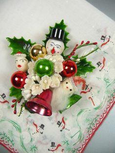 Hankie Christmas Corsage Pin Vintage Spun Cotton Snowman Santa Clause Bells Gift Set Stocking Stuffer Mercury Glass Red Green on Etsy, $25.00