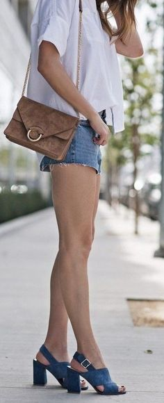 #summer #trending #outfitideas |  White Shirt + Denim Shorts + Blue Suede Leather Heeled Sandals