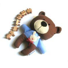Teddy bear stuffed toy rag doll plushie rag doll toy stuffed animal soft toy handmade softie brown 25 cm 9.8. via Etsy.