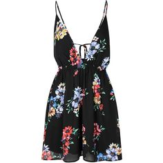 Black Floral Print V Neck Cami Dress ($35) ❤ liked on Polyvore featuring dresses, vestidos, rompers, short dresses, black, short floral dresses, fringe mini dress, floral cami, floral cami dress and flower print dress