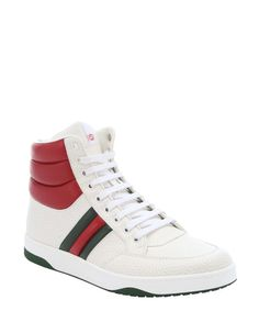 Gucci white and red padded leather contrast high-top sneakers