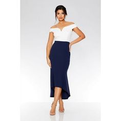 This stunning dress is perfect for your next occasion. Featuring a bardot neckline with a V bar and a dip hem, wear with heeled sandals and coordinated jewellery for a chic and trendy look. Target Clothes, Debenhams, Heeled Sandals, Stunning Dresses, Bardot, Be Perfect, Dip, High Waisted Skirt, Neckline