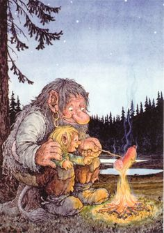 Right in the childhood :D I love Rolf Lidbergs illustrations! Forest Creatures, Fantasy Creatures, Fantasy Kunst, Fantasy Art, Les Moomins, Los Trolls, Vikings, Elves And Fairies, Fairy Art