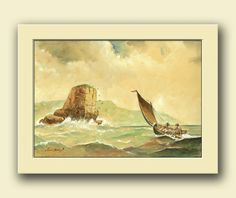 Sail ship- Sailing nautical home decor, Seascape scene art wall.  This is an original watercolor painting made by me, Juan Bosco.  Frame and mat not