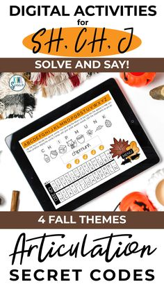 This fall themed articulation secret codes/puzzles BOOM CARDS™ deck is a fun way to practice the SH, CH and J sounds in speech therapy. This set includes 4 fall themes (back to school, fall, Halloween, and Thanksgiving) and a mix of SH, CH, and J sounds in all positions of words. Perfect for teletherapy or distance learning. - Kiwi Speech #articulation #BoomCards #Teletherapy #speechsounds Articulation Therapy, Articulation Activities, Speech Therapy Activities, Language Activities, Autumn Activities For Kids, Thanksgiving Activities, J Sound, Fall Themes, Secret Code