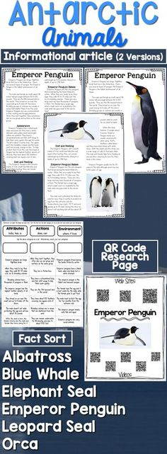 Antarctic Animals: Informational Article, QR Code Research Page & Fact Sort is a set of  informational articles all about Antarctic Animals. These articles are full of interesting facts and details that students can use during reading and writing activities.  Includes an article about each animal in two formats (two-page color photos & one-page text), QR Codes for online articles and videos about the animal and a fact sort sheet where students can sort facts about each animal's attributes…
