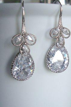 tear drop vintage zirconia earrings