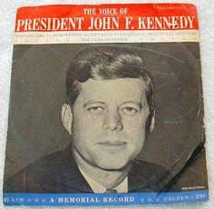 "PRESIDENT JOHN F. KENNEDY ~ Speech Highlights ~ Memorial Records~ P/S ~ 7"""