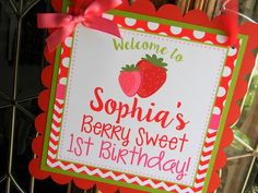 Strawberry Party Door Sign, Strawberry Party Decorations, Strawberry Door Hanger, Strawberry Welcome Sign, Strawberry Birthday Party First Birthday Favors, First Birthday Parties, First Birthdays, Girls Pirate Parties, Watermelon Birthday, Pirate Birthday, Party Shop, For Your Party, Door Signs