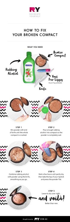 Use these house hold products to fix your smashed compacts - it's so easy!