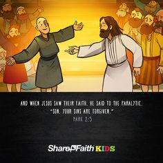 Luke 5 Jesus Heals The Paralytic Kids Bible Scripture: This Sharefaith Kids lesson tells the amazing story of Matthew 9:1-8, Mark 2:1-12 and Luke 5:17-26. In this story four friends will stop at nothing to make sure their paralyzed friend is healed by Jesus. After tearing a hole in the roof and lowing their friend down Jesus miraculously heals the paralytic man. With amazing teaching content like Q&A, memory verse and big idea this Jesus heals the paralytic lesson is not to be missed.