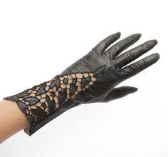 Vintage Ladies Black Leather Cutwork Gloves, 1930s, by CaprockVintage