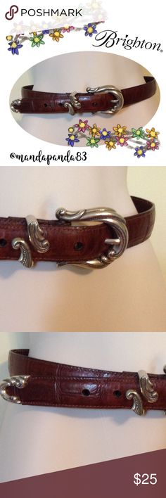 Brighton Chocolate Brown Belt (S 24507) EUC and very beautiful! This Brighton belt is a deep brown with silver ornate hardware. There is slight tarnish spots on the underside of the silver hardware. Size Small (S 24507). Measurements upon request. Brighton Accessories Belts