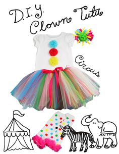 DIY Clown Tutu Costume - Perfect for Halloween, first birthdays, or circus themed parties! #carnaval #fantasias #acessórios #bebê #criança