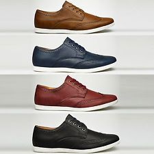 Mens Casual Smart Leather Lace Up Trainers Brogue Shoes Plimsolls 6 7 8 9 10 11