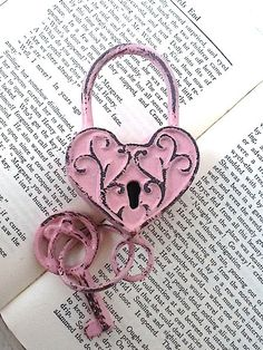 Cast Iron Heart Lock and Key Shabby Chic and by CamillaCotton, I Love Heart, Key To My Heart, Heart Art, Pink Love, Pretty In Pink, Old Keys, Vintage Keys, Antique Keys, Everything Pink