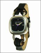 TOKYObay Lane - Women's (Black) Tokyo Bay. $80.00. Earthy natural leather with contrast top stitch detail. Rounded edge case with minimal dial design. Antiqued silver or gold metal finish. Traditonal buckle closure. Unusual looped style attachment