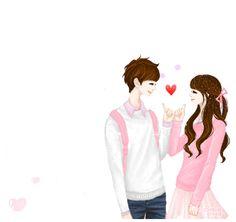cute anime y Cute Couple Cartoon, Cute Couple Art, Cute Love Cartoons, Anime Love Couple, Cute Anime Couples, Sweet Couple, Korean Illustration, Couple Illustration, Girls In Love