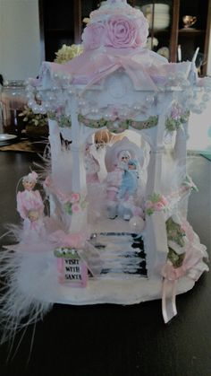 Shabby pink victorian christmas village Gazebo Visit with Santa roses lace chic