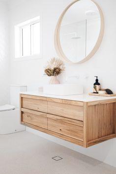 Bathroom Tapware, Bathroom Renos, Remodel Bathroom, Bathroom Ideas, Bathroom Inspiration, Home Decor Inspiration, Wooden Vanity, Coastal Bathrooms, Hamptons House