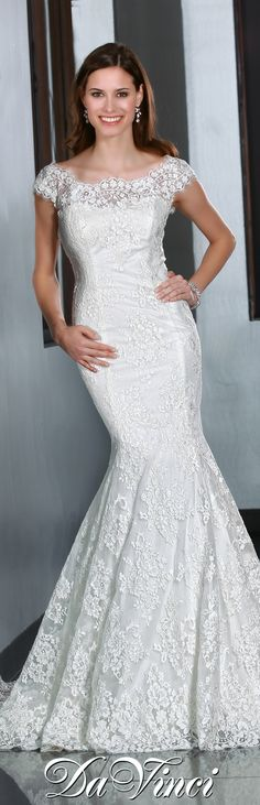 DaVinci Bridal Style # 50195 Lace fit and flare gown with a scoop neckline and cap sleeves leading into a V shaped back. Sweep Train. Buttons cover a zipper back. http://www.davincibridal.com/
