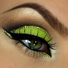 Lime green and gold eye makeup