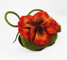 Felted Bag Flower Bag Nasturtium Bag Felted Handbag by filcant