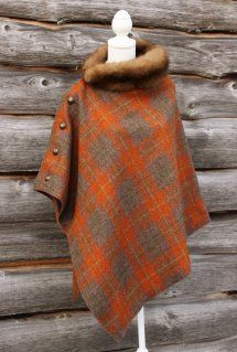 Harriet Hoot Bespoke Harris Tweed & Vintage Fur Poncho