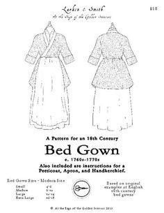 1770s English Bedgown Pattern - Golden Scissors