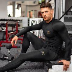 Compression Long Sleeve T-Shirt // Black + Gold Gym Gear For Men, Dope Swag Outfits, Gym Outfit Men, Lycra Men, Compression T Shirt, Mens Tights, Athleisure Wear, Men In Uniform, Athletic Men