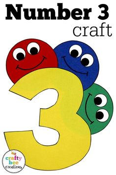 Number crafts are great for preschool and kindergarten children working on number recognition. These patterns are kid friendly and very easy to use! Fun Crafts For Kids, Toddler Crafts, Art For Kids, Numbers Preschool, Preschool Math, First Grade Crafts, Alphabet Letter Crafts, Children Working, Painting Activities
