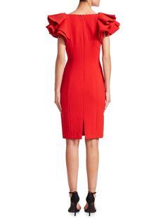 8a6ad53d959 Badgley Mischka Ruffle Sheath Dress - Bright Red 16